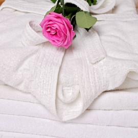 Pair of bath towels and robes to hire